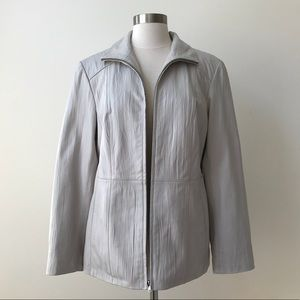 Gallery Taupe Textured Leather Zip Front Jacket